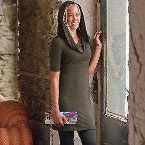 Athleta Hooded Cowl Neck Tunic Dress